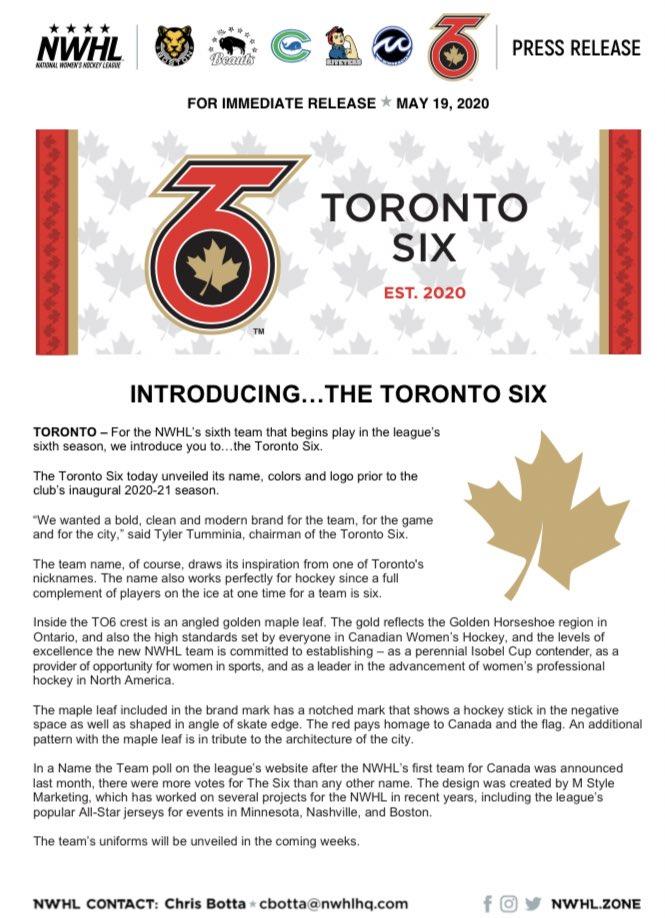 toronto six press release